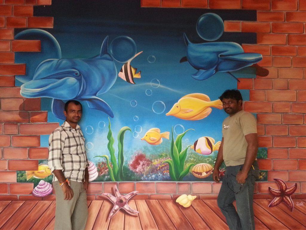 3D Wall Painting 3d wall painting 3d wallpainting dolphin art underwater