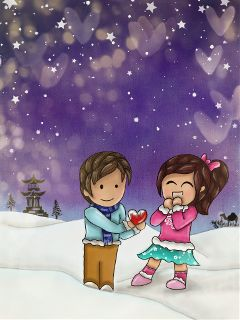cute colorful love snow winter