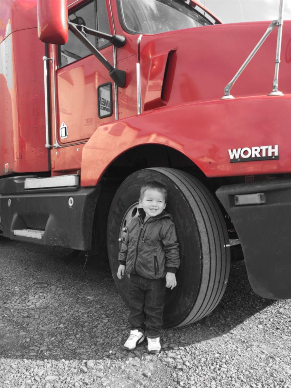 For the love of trucks!  #blackandwhite #colorsplash