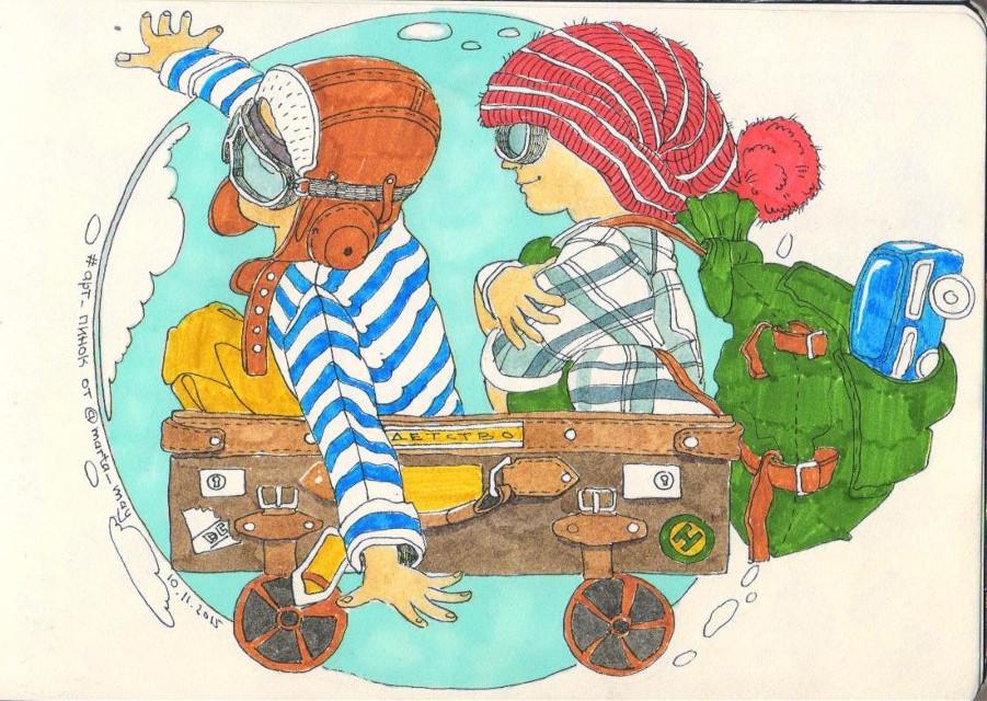 Fellow travellers. #suitcase #sketch #sketchbook #drawing #art #ink #markers #sky #goodmood #kids #childhood #children