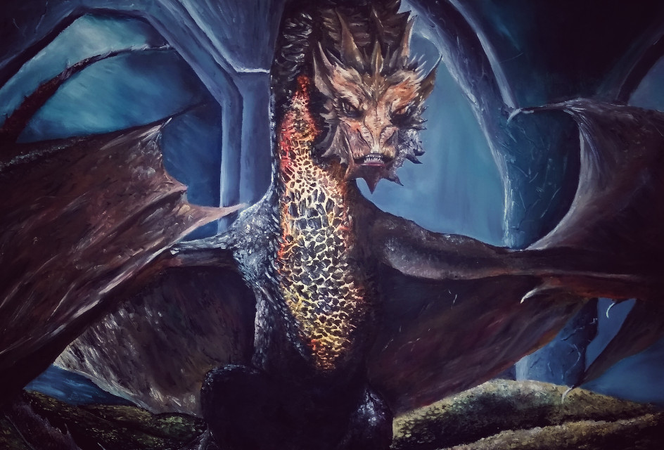 Smaug The Dragon Oil-Painting  #oilpaint #thehobbit #smaug #dragon #drawing #canvas #fantasy #drawing #art #artwork #letspaint #oilpaint #skyrim