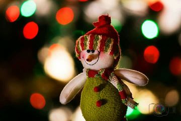 christmas bokeh twinkle lights snowman