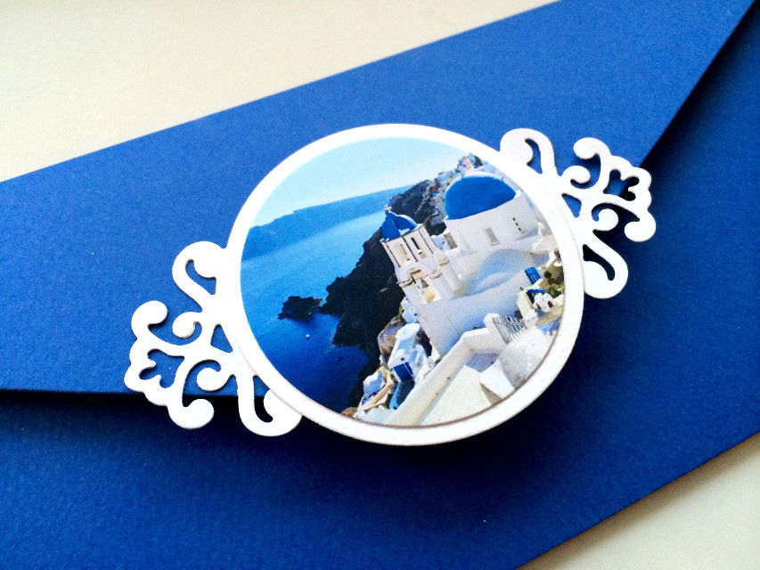 Its almost like planning a vacation- a pile of blue paper and die cut Santorini images on my table. #destination wedding #greece #invitations #travel #blue invite #santorini #nofilter #nofiltersneeded
