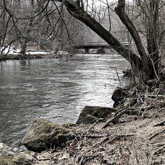 nature winter outdoors creek bridge