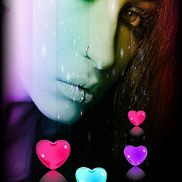 herz love girl colorful eye