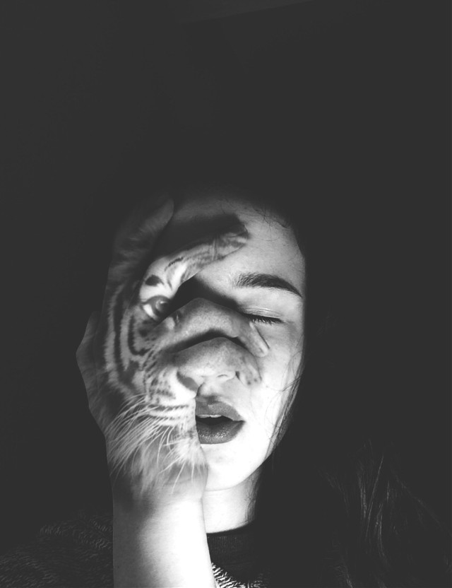 #half #face #bw #tiger #art #photography #artphotography #wapanimalface