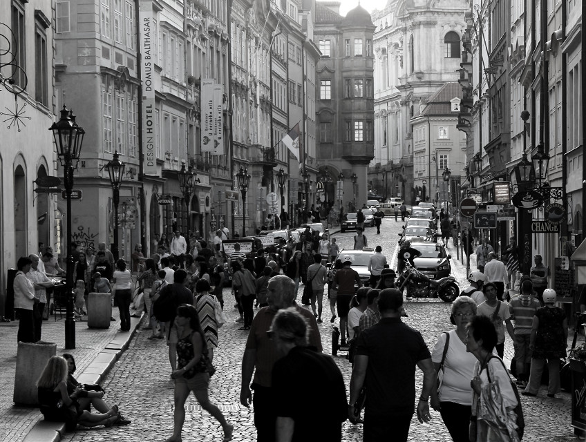 A Busy Street In Prague, Czech Republic  This one is from portfolio collection. One of most complex and technically correct image I have ever executed. One of personal favorites. #people #travel #summer #france #city #blackandwhite #photography  #urban #light #monochrome #prague #street   @pa