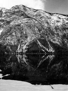 slovenia bohinj snow mountain lake