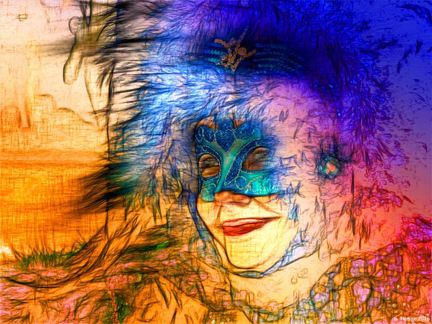 The beautiful mask  www.gabihampe.de  woman, mask, colorful, digital art, modern art, urban art, Abstract art