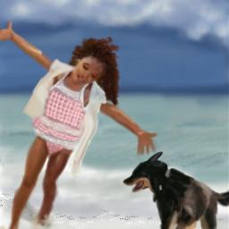 wdpvacation beach dog girl digital