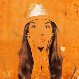 orange wall girl graffiti freetoedit