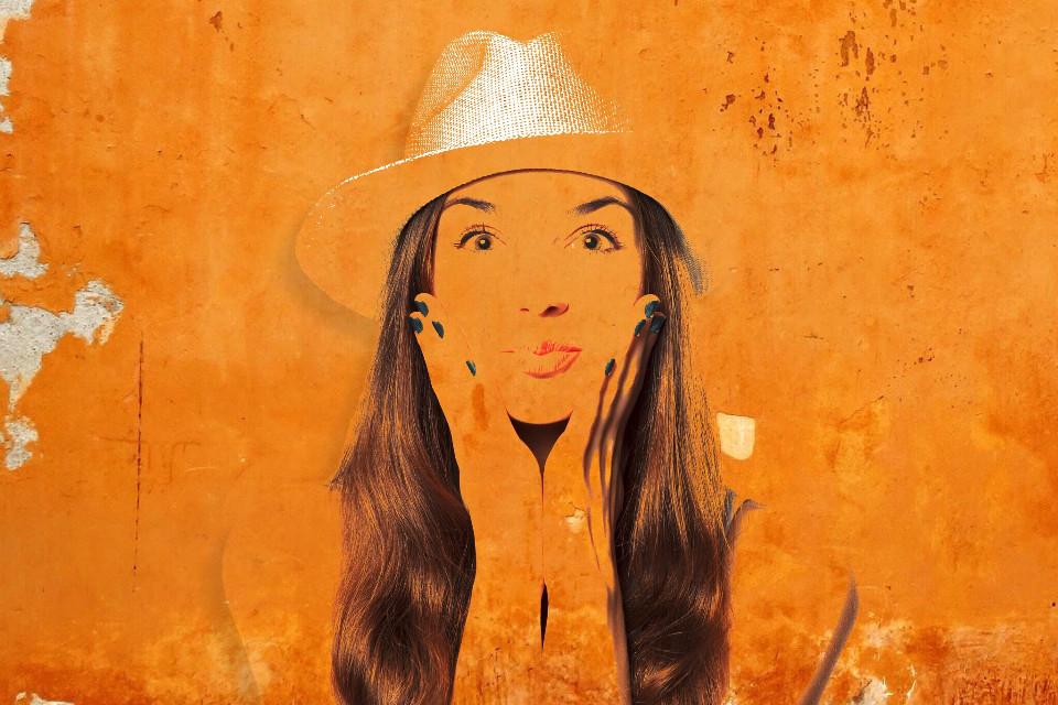 #orange #wall #girl #graffiti #FreeToEdit