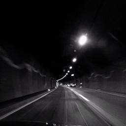 road trip tunnel blackandwhite